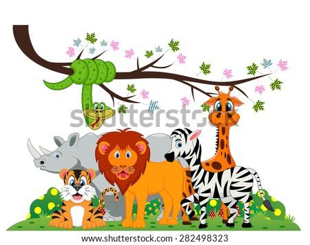 Lion, tiger, zebra, rhino, snake and giraffe were playing under a tree branch - stock photo