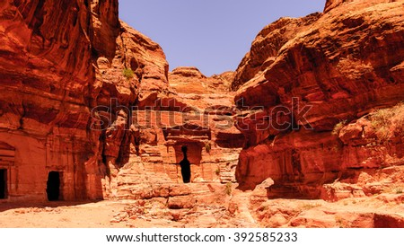 Lion Triclinium in Petra (Rose City), Jordan. The city of Petra was lost for over 1000 years. Now one of the Seven Wonders of the Word - stock photo