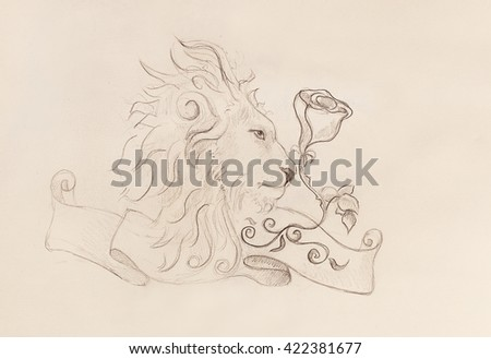 Pencil sketch lion stock photos images amp pictures shutterstock