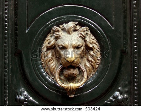 Lionhead knocker door - stock photo
