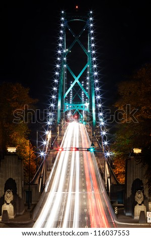 Lions Gate Bridge in Vancouver, British Columbia - stock photo