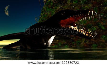 Liopleurodon carnivorous marine reptile lying in shallow waters at night - stock photo
