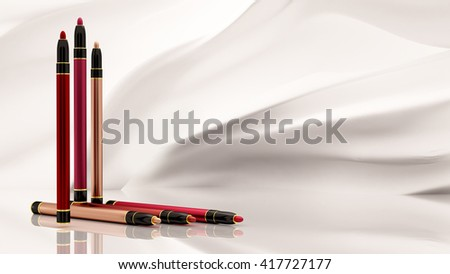 Lip pencils on a white background. Bottle, style, makeup, lips, beauty, make-up, facials. Cosmetics. 3D rendering - stock photo