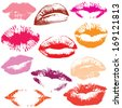 Lip print track set in tender kiss Love valentine's day illustration. Raster version - stock photo