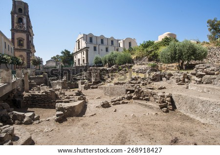 Lipari, Lipari Islands, Sicily, south Italy - stock photo