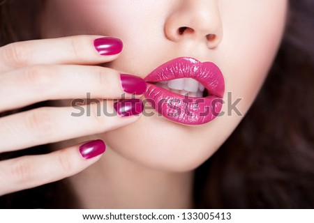 Lips and nails - stock photo