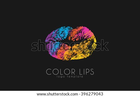 Lips logo design. Woman lips. Color lips. Beautiful lips. - stock photo