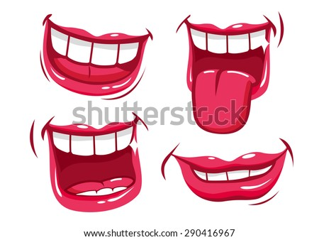 Lips smiling illustration set. A set of funny smiling female and male mouths in various facial expressions. Vector version also available in my gallery. - stock photo