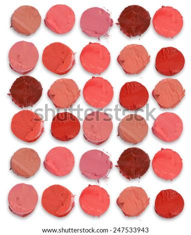 lipstick cut on white background - stock photo