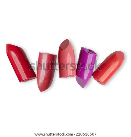 Lipstick cut several sticks on a white background with clipping paths. - stock photo