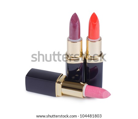 Lipstick for lips isolated on white background - stock photo