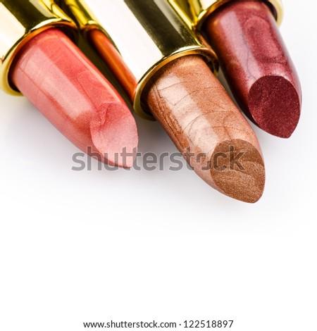 Lipstick isolated on white background - stock photo