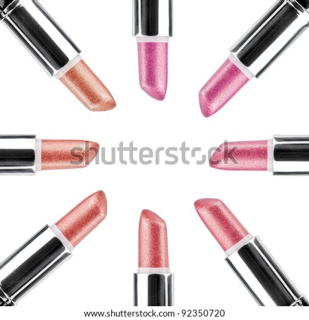 Lipstick on white background - stock photo