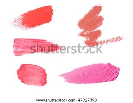 lipstick samples isolated on white - stock photo