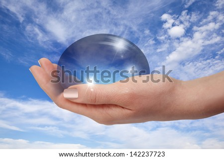 liquid drop falling in woman hand isolated on cloudy background  - stock photo