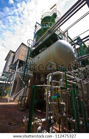 liquid gas tanks in tetrochemical plant - stock photo