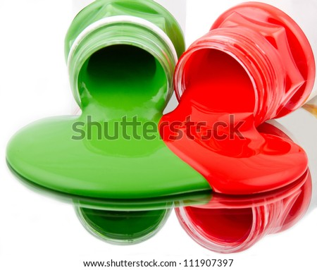 Liquid paint from bottle, green, red, fluid, mirror - stock photo