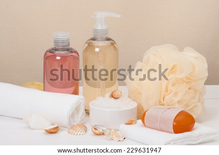 Liquid Soap, Aromatic Bath Salt And Other Toiletry - stock photo