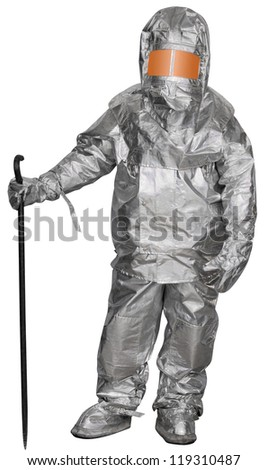 Liquidator man-made disaster in a fire proximity suit. Isolated on white - stock photo