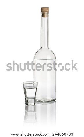 Liquor bottle and shot glass filled with clear liquid - stock photo