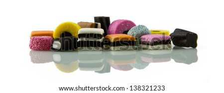 Liquorice allsorts, low reflected - stock photo