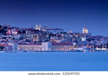 Lisbon at the sunset presents the most impressive colors - stock photo