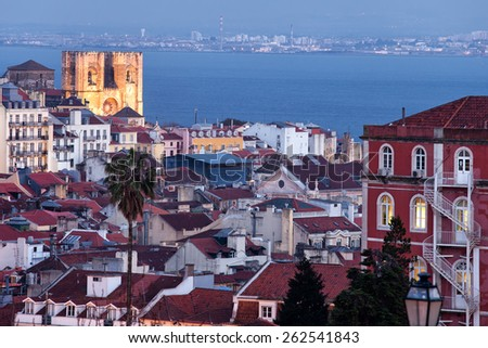 Lisbon cityscape at twilight in Portugal. - stock photo