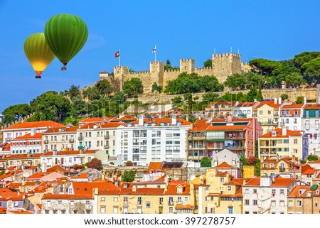 Lisbon fortress of Saint George view, Portugal - stock photo