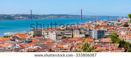 Lisbon Historical City Panorama, Portugal - stock photo