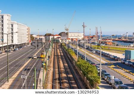 Lisbon Industrial District: Railway, Road and Port. Horizontal shot - stock photo