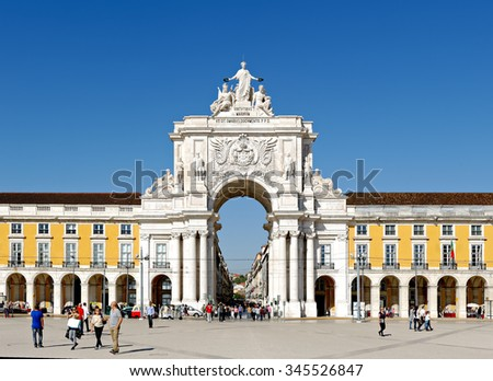 LISBON - NOVEMBER 08, 2015:Triumphal arch at Rua Augusta from Commerce Square in Lisbon, Portugal, built to commemorate the city's reconstruction after the 1755 earthquake. - stock photo