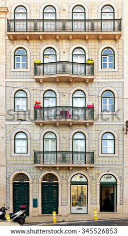 LISBON - NOVEMBER 11, 2015:Typical building the center of Lisbon, Portugal, with facade of ceramic tiles (azulejos) - stock photo