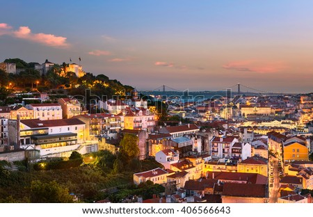 Lisbon old town and Sao Jorge Castle, Portugal - stock photo