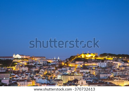 Lisbon, Portugal at dawn. - stock photo