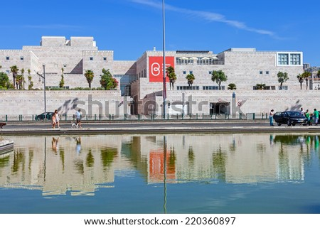 Lisbon, Portugal. August 24, 2014: Centro Cultural de Belem (belem cultural center). Major museum and cultural center showing exhibitions a art collections like the Berardo Museum and music concerts. - stock photo