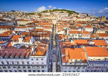 Lisbon, Portugal city skyline over Santa Justa Rua. - stock photo
