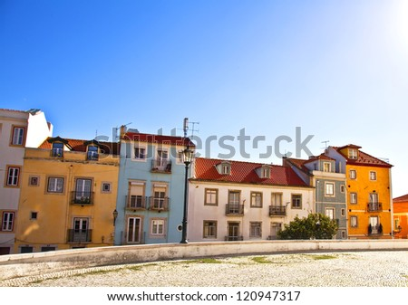 Lisbon, Portugal. Classical view. Typical architecture of the city streets. - stock photo