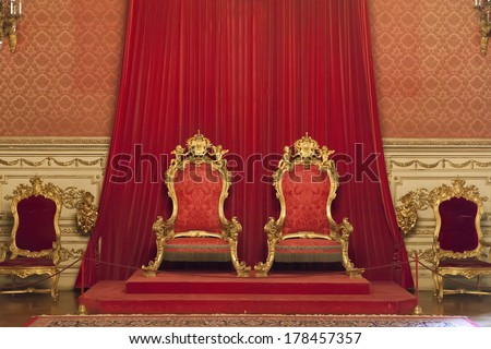 Lisbon, Portugal, December 02, 2013: The Throne Room of the Ajuda National Palace, Lisbon, Portugal - 19th century neoclassical Royal palace. - stock photo