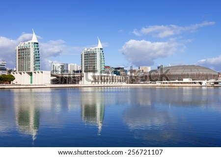 Lisbon, Portugal - February 01, 2015: Portuguese Pavilion, Atlantico or MEO Arena with Sao Gabriel (L) and Sao Rafael (R) Towers seen across the Olivais Dock. Park of Nations, Lisbon, Portugal - stock photo