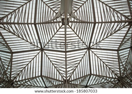 LISBON, PORTUGAL - JANUARY 4, 2014: Roof view of Oriente Station. This Station was designed by Santiago Calatrava for the Expo '98 world's fair.  - stock photo