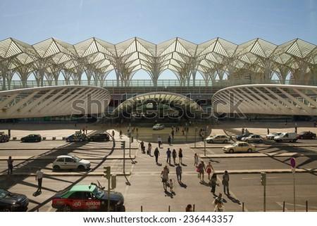 LISBON, PORTUGAL - JULY 22: Oriente railway station in Lisbon, Portugal on July 22,2014. This Station was designed by Santiago Calatrava, built in 1998 for the Expo '98 world's fair.  - stock photo