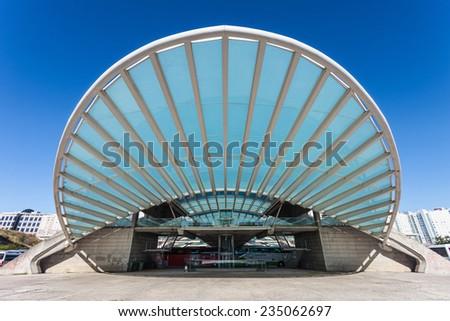 LISBON, PORTUGAL - JUNE 26: Modern architecture at the Oriente Station (Gare do Oriente) on June 26, 2014 in Lisbon, Portugal - stock photo
