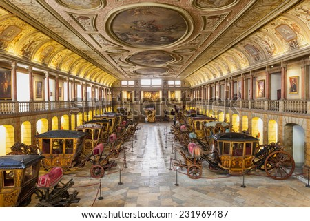 LISBON, PORTUGAL - JUNE 25: National Coach Museum (Museu dos Coches) on June 25, 2014 in Lisbon, Portugal - stock photo