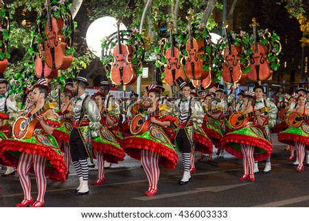 LISBON, PORTUGAL - 12 june 2016, night parade Marchas Populares, carnaval districts of city - stock photo