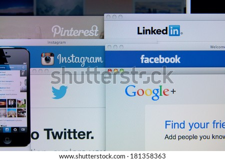LISBON, PORTUGAL - MARCH 13, 2014: Photo of Pinterest, Twitter, Facebook, Google+, Linkedin and Instagram homepage on a monitor screen. These are popular social networking websites. - stock photo