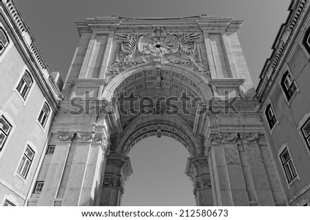 Lisbon, Portugal - May 14: Rua Augusta Arch in Lisbon on May 14, 2014. The reverse side Rua Augusta Arch in Lisbon. Portugal, Europe. - stock photo