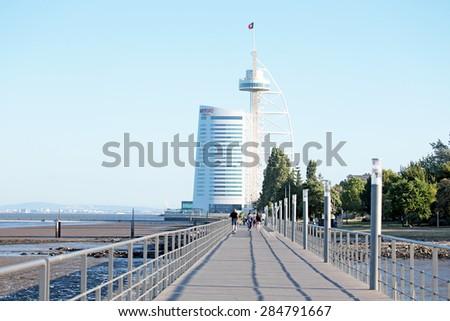 LISBON, PORTUGAL - May 31, 2015: Vasco da Gama tower built for the Expo '98 (1998 Lisbon World Exposition) in Lisbon, Portugal, on May 31, 2015 - stock photo