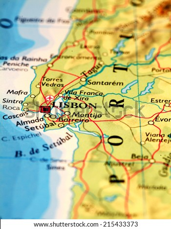 Lisbon, Portugal on atlas world map - stock photo