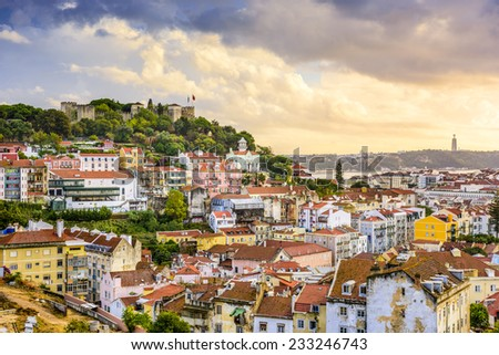 Lisbon, Portugal skyline at Sao Jorge Castle at dusk. - stock photo