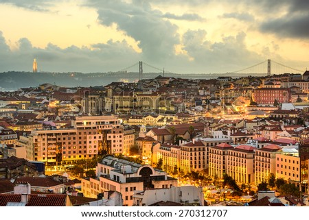 Lisbon, Portugal skyline at sunset. - stock photo